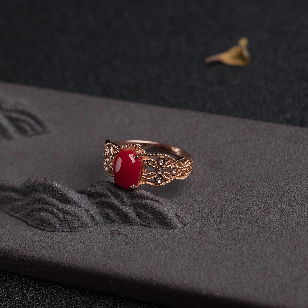 18K金钻阿卡正红珊瑚戒指第3张