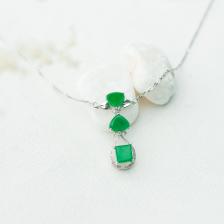 18K糯种阳绿翡翠项链