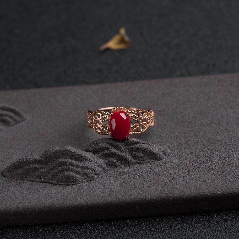18K金钻阿卡正红珊瑚戒指第1张