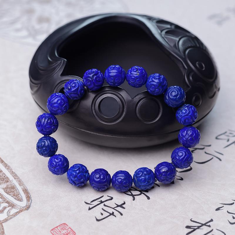 10.5mm天蓝色青金石回纹珠单圈手串第1张