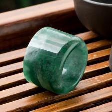 糯冰种深绿翡翠扳指
