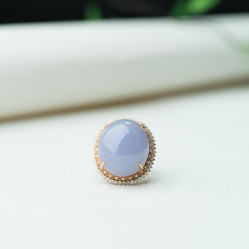 18K糯种紫罗兰翡翠戒指