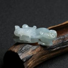 糯种蓝水翡翠貔貅挂件