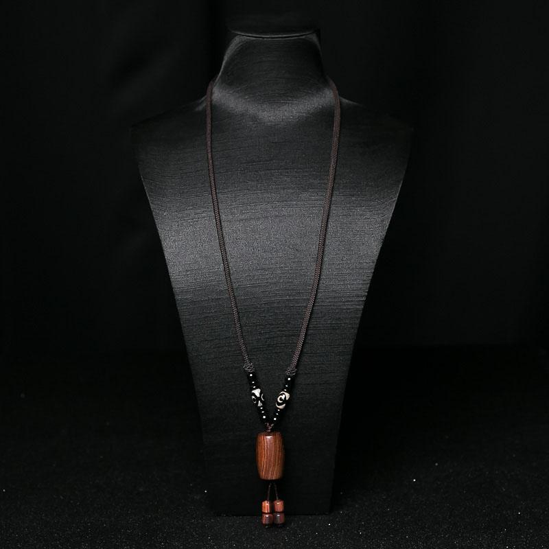 虎皮纹海南黄花梨桶珠项链