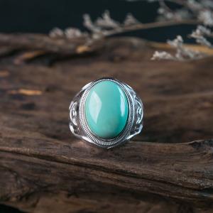 银镶中高瓷蓝绿绿松石戒指