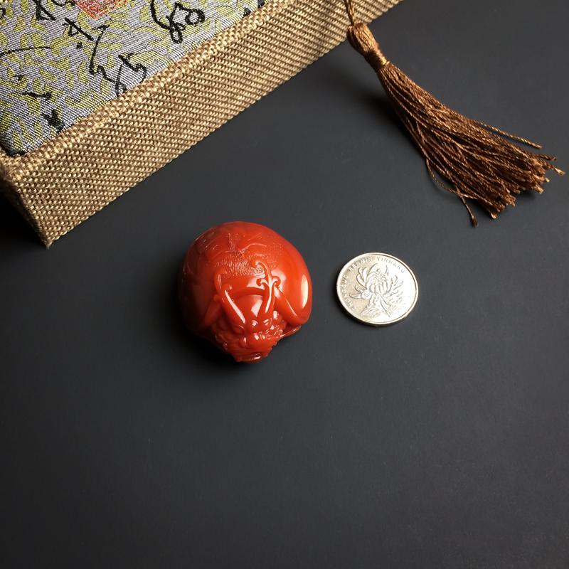 柿子红南红赑屃吊坠第7张