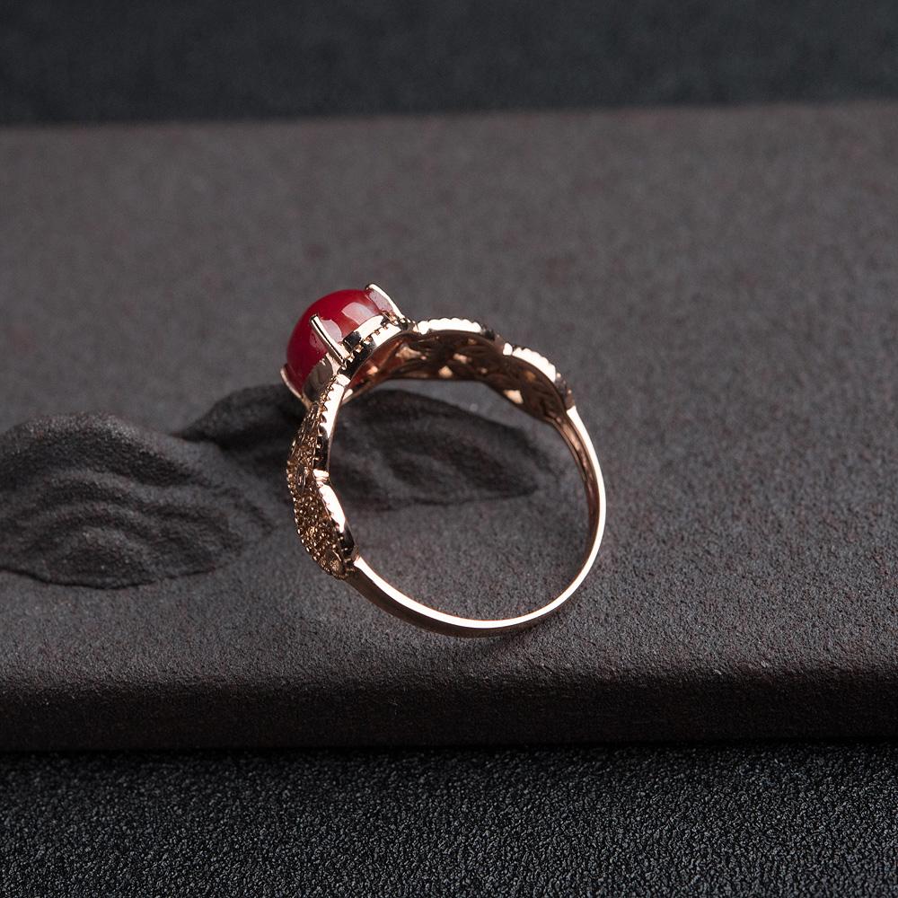 18K金钻阿卡正红珊瑚戒指第4张
