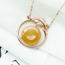 18K糯冰种黄翡翡翠项链