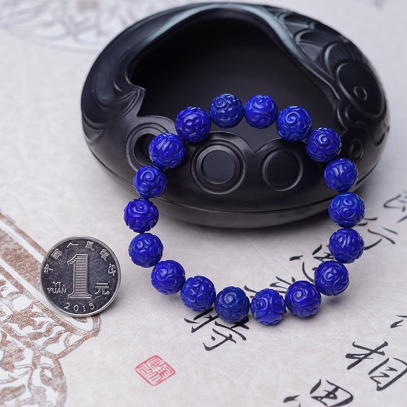 10.5mm天蓝色青金石回纹珠单圈手串第7张