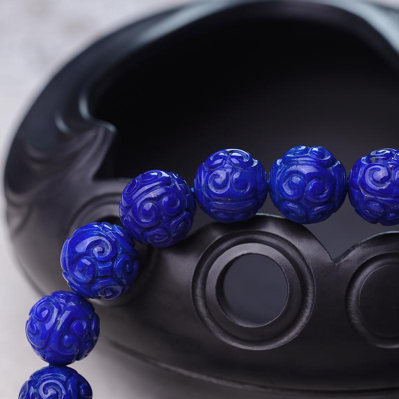 10.5mm天蓝色青金石回纹珠单圈手串第5张