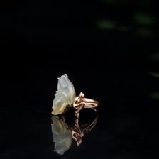 18K糯冰种飘黄翡翡翠戒指