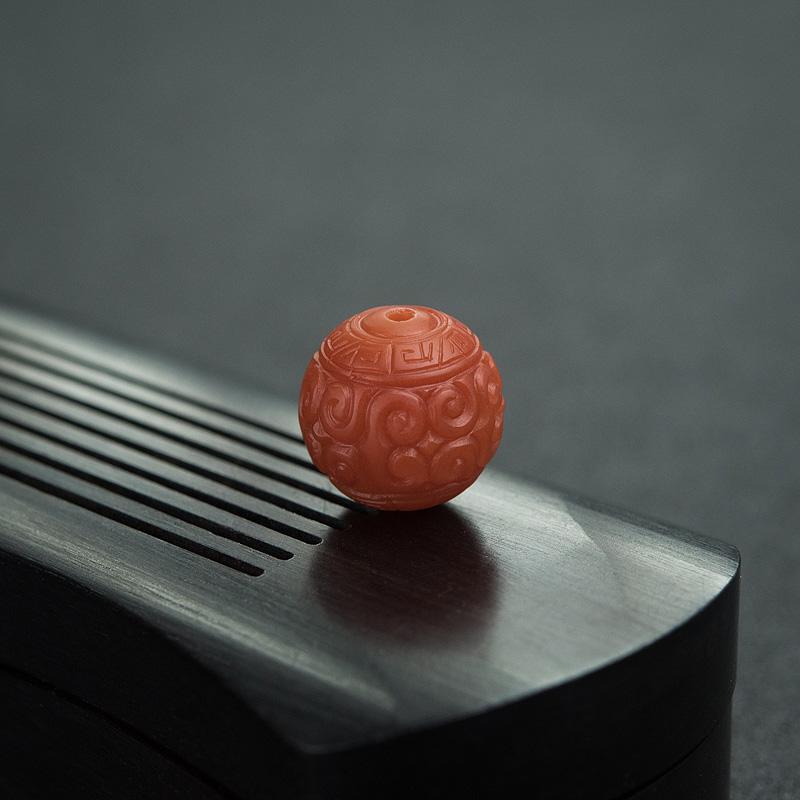 13.5mm柿子红南红回纹珠第4张