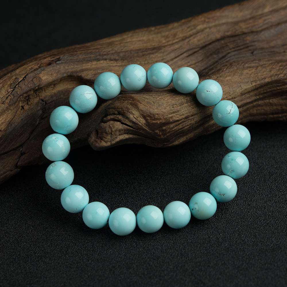10.5mm高瓷铁线浅蓝绿松石手串