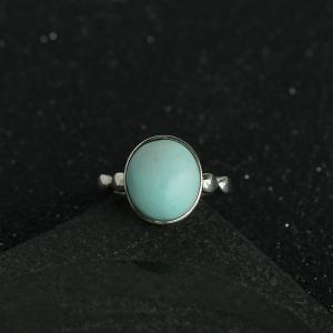 银镶绿松石戒指