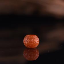 柿子红南红回纹珠配饰