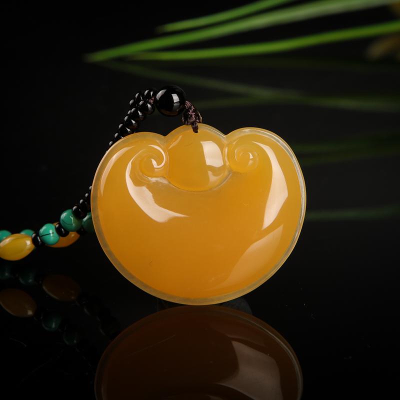 山料橙黄黄龙玉如意锁吊坠