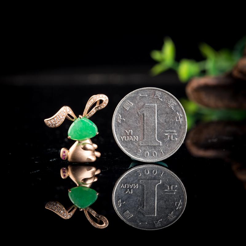 18k糯种翠绿翡翠兔子吊坠第7张