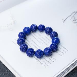 16.5mm深蓝色青金石回纹珠手串