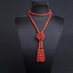 沙丁朱红珊瑚毛衣链
