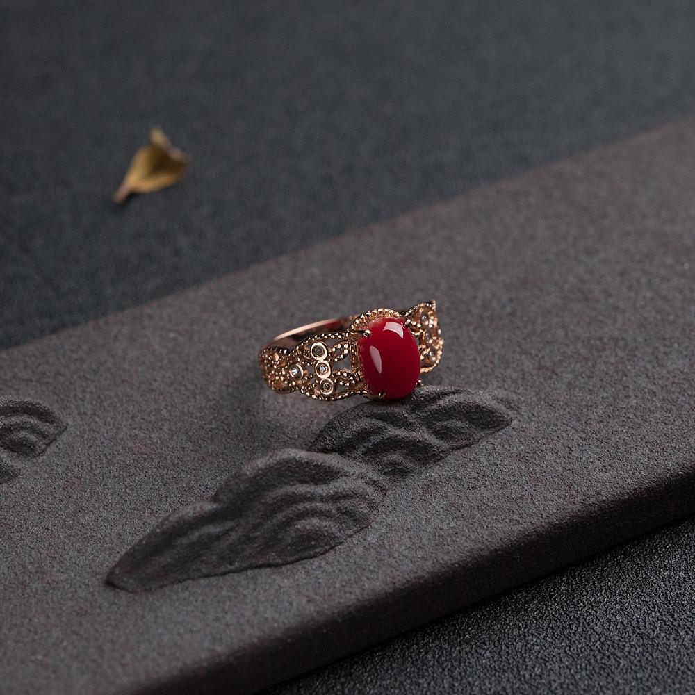 18K金钻阿卡正红珊瑚戒指第2张