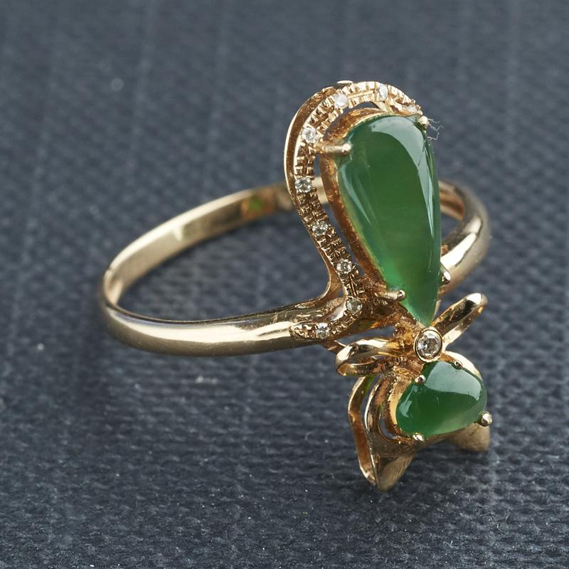 18K金镶钻冰种阳绿青色翡翠猫戒指