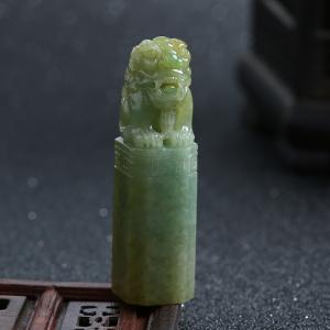豆种黄加绿翡翠貔貅印章