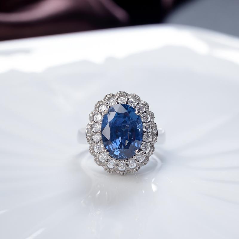 18K蓝色蓝宝石戒指/吊坠两用款