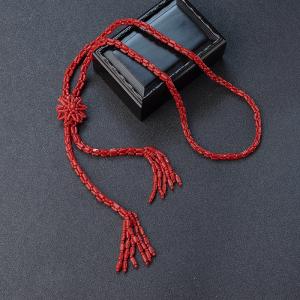 沙丁正红珊瑚毛衣链