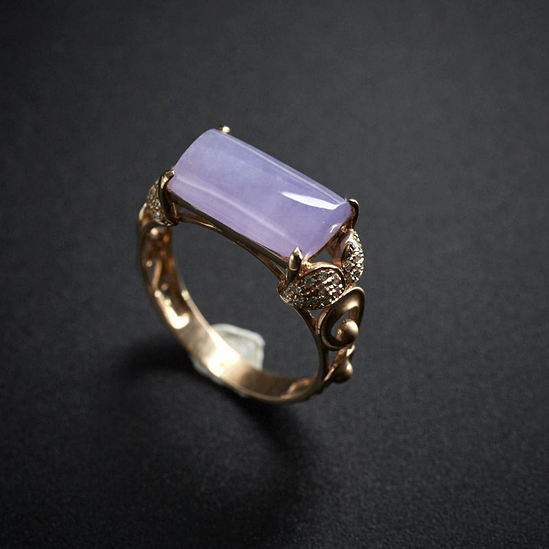 18K镶钻翡翠糯种紫罗兰长方形戒指