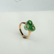 18K糯种豆绿翡翠戒指