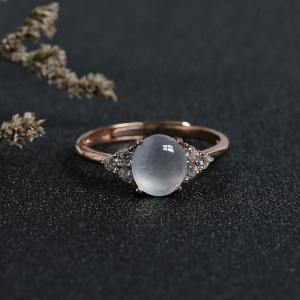 银镶冰种翡翠戒指