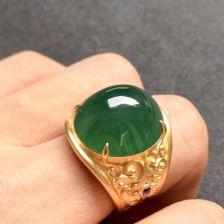 镶黄18K金蓝宝石冰种绿晴水色翡翠戒指(男戒)
