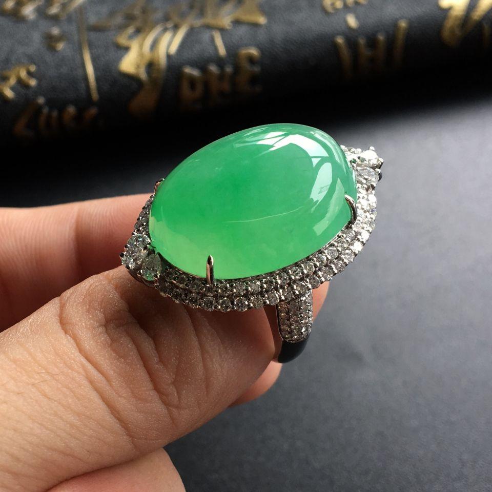 糯冰种绿晴水镶白金钻石戒指/胸坠(两用)