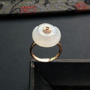糯冰种淡晴水莲花镶玫瑰金钻石伴镶彩宝戒指