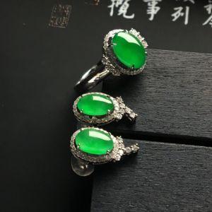 镶白金钻石冰种翠色戒指/耳钉(一套)