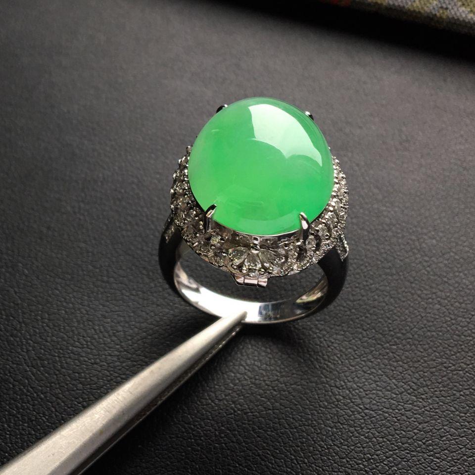 冰种绿晴水镶白金钻石戒指/胸坠两用