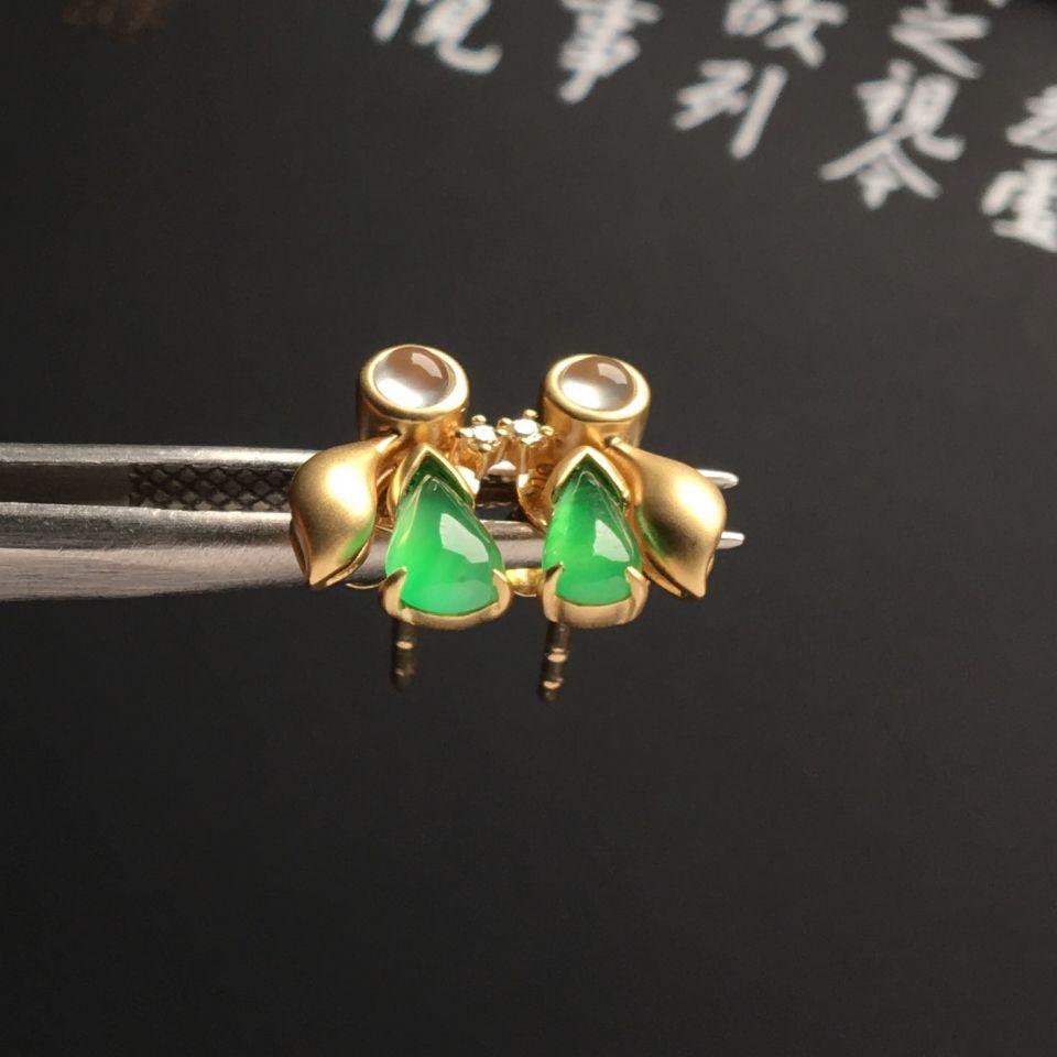 镶黄18k金钻石冰种绿晴水耳钉
