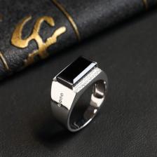 镶白18K金冰种墨翠方形戒指
