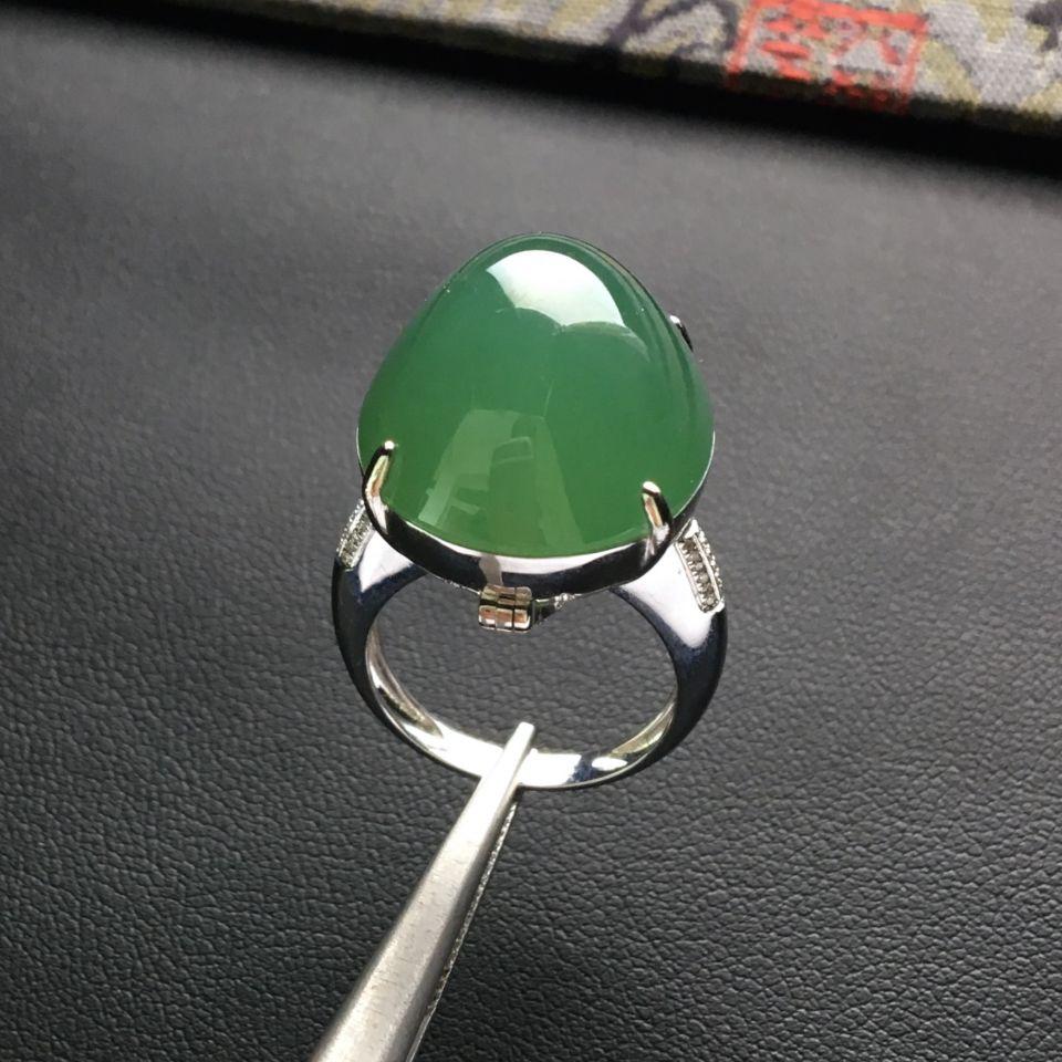 冰种晴水镶白金钻石戒指/胸坠两用