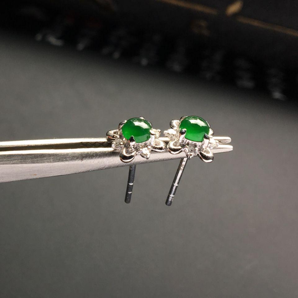 镶白金钻石冰种深绿耳钉