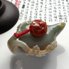 糯冰种淡褐黄翡/红黄翡茶壶摆件