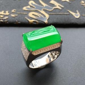 冰种阳绿镶白金钻石马鞍戒指(男戒)