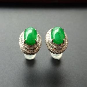 糯冰种阳绿镶白金钻石耳钉