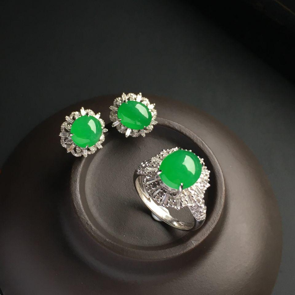 镶白金钻石糯冰种翠色戒指/耳钉(一套)第2张