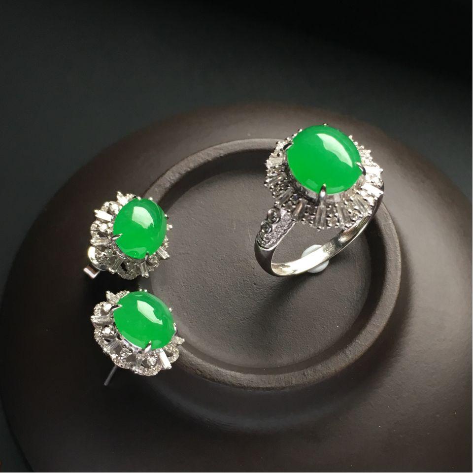 镶白金钻石糯冰种翠色戒指/耳钉(一套)第3张