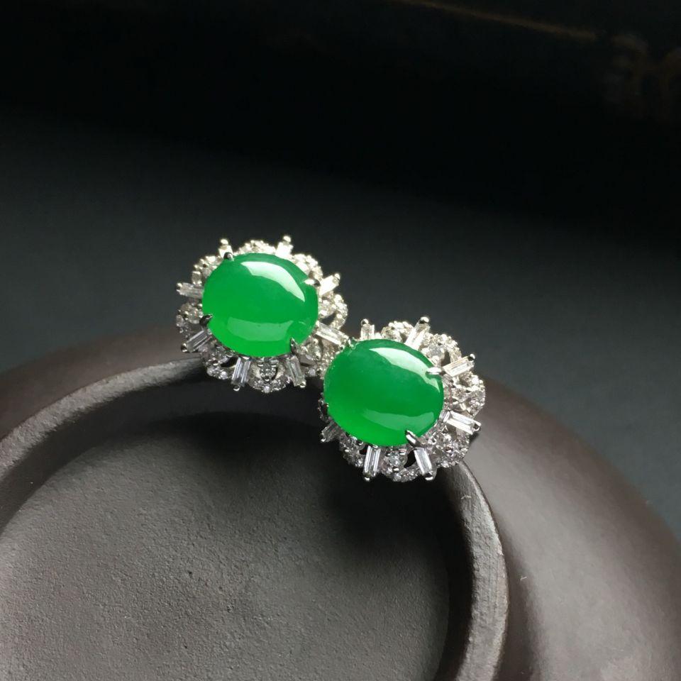 镶白金钻石糯冰种翠色戒指/耳钉(一套)第5张