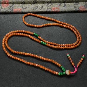 糯冰种红黄翡小米珠项链/手链