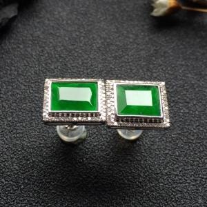 冰种阳绿镶白金钻石耳钉
