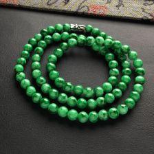 糯冰种浓绿圆珠项链