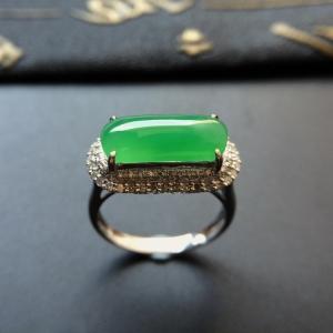 冰种晴水镶白金钻石马鞍戒指